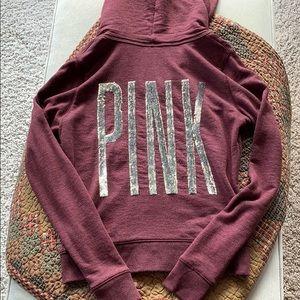 Maroon PINK Victoria's Secret full zip size small